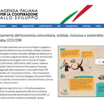 L'Agenzia Italiana per la Cooperazione allo Sviluppo parla di noi
